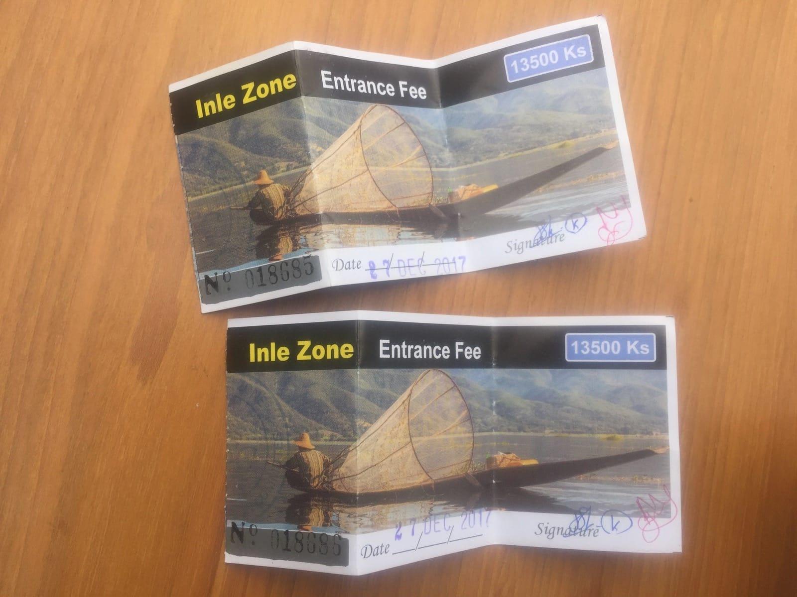 Eintrittsticket zum Inle See: 13.500 Kyat.