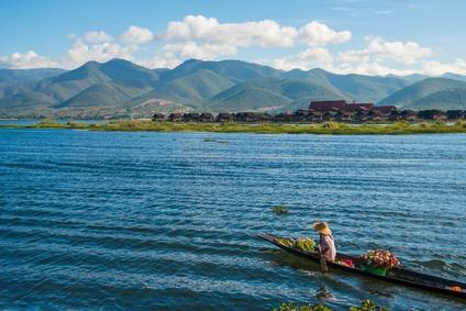 Die wunderschöne Landschaft des Inle Lakes on Myanmar.