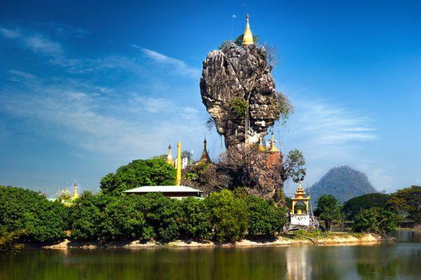 Die balancierende Felspagode Kyauk Kalat