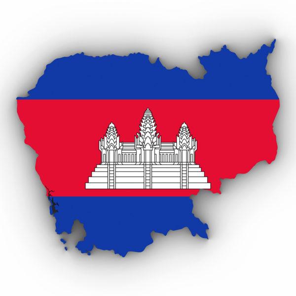 Die Fahne und Landkarte von Kambodscha (Shutterstock.com)