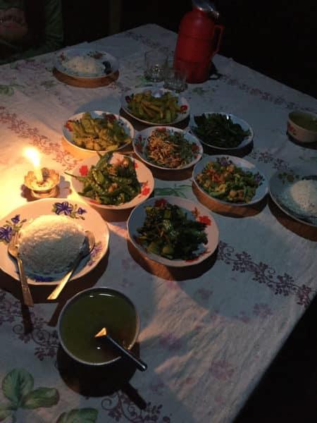Viele vegetarische Gerichte mit Reis