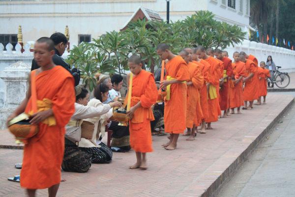 In Luang Prabang sammeln morgens oft die buddhistischen Mönche Opfergaben der Einwohner.