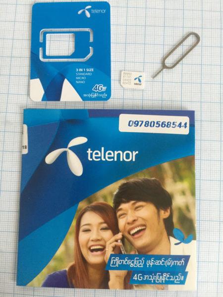 Eine Telenor Simkarte für Myanmar.