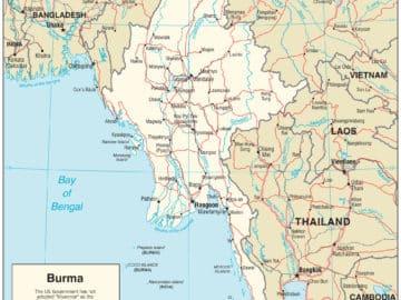 Strassenkarte von Myanmar