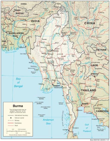 Physikalische Landkarte von Myanmar