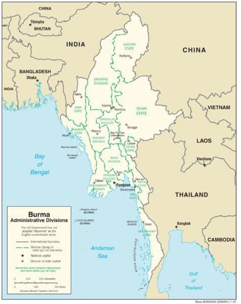 Landkarte Myanmar - wo liegt Myanmar?