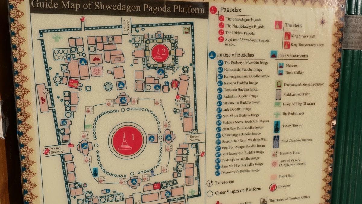 Karte der Shwedagon Pagode
